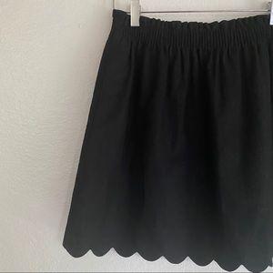 J. CREW FACTORY scallop hem black skirt